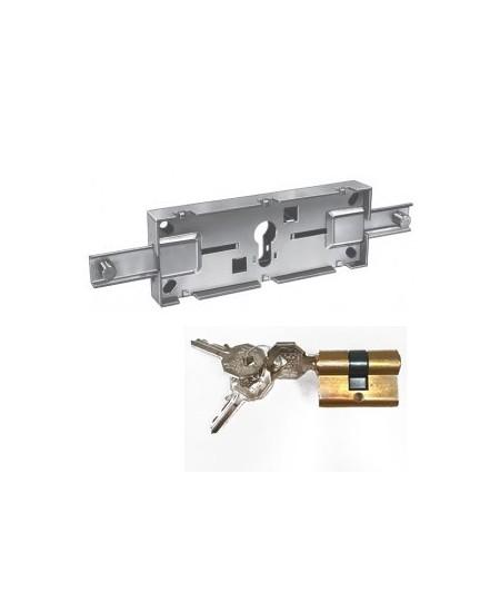 Accessoires PREFER pour rideaux metalliques : Serrure centrale de rideau à cylindre européen clés différentes