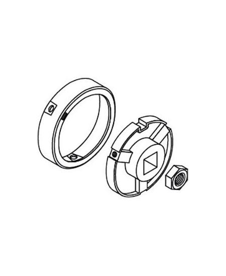 Adaptations moteur et rondelles SIMU pour rideaux metalliques : Adapt. moteur - T8/T9 CAT.A - Tube rond D102 - Ep.2