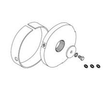 Adaptations moteur et rondelles SIMU pour rideaux metalliques : Adapt. moteur - T8/T9 CAT.C - Tube rond D133 - Ep.2.5