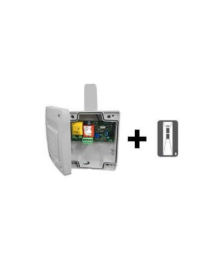 Recepteurs et boitiers de gestion Semi-Fermetures pour rideaux metalliques : Kit 1 récept/1 téléco de poche 2C Semi-Fermetures