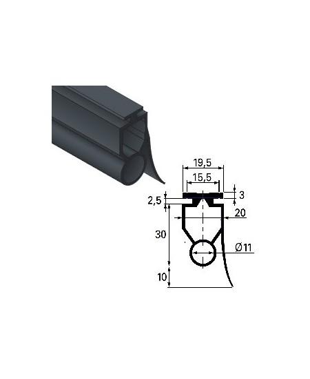 Securite SIMU pour rideaux metalliques : Joint caoutchouc pour lame finale 140 palpeuse (Vendu au mètre)